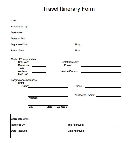 Travel Itinerary Template - 7 Download Documents in PDF , WORD