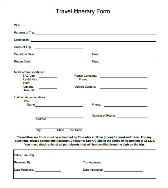 Sample Holiday Itinerary Template   Documents Download In Word