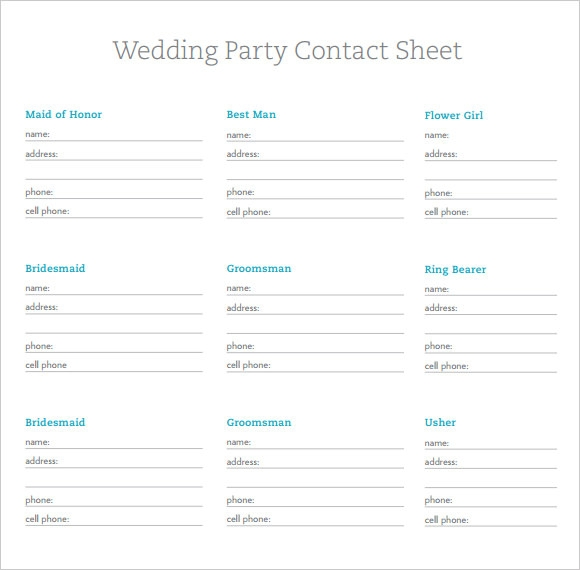 Business Contact: 6+ Sample Contact Sheets