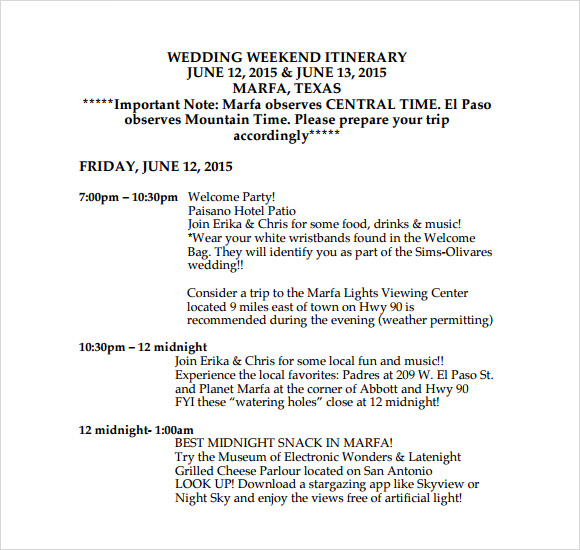 Wedding Weekend Itinerary Template - 9+ Download Free Documents in PDF ...