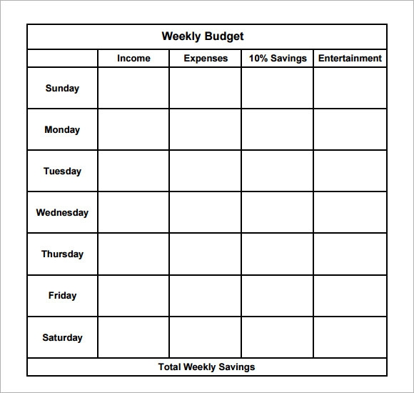 Weekly Calendar Calculator : Weekly budget samples pdf word sample templates