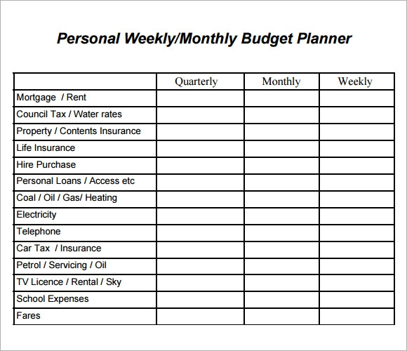 Sample Weekly Budget   Documents In Word  Excel