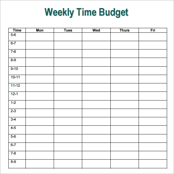 Weekly Budget Template -7+ Free Download for PDF , Word , Excel ...