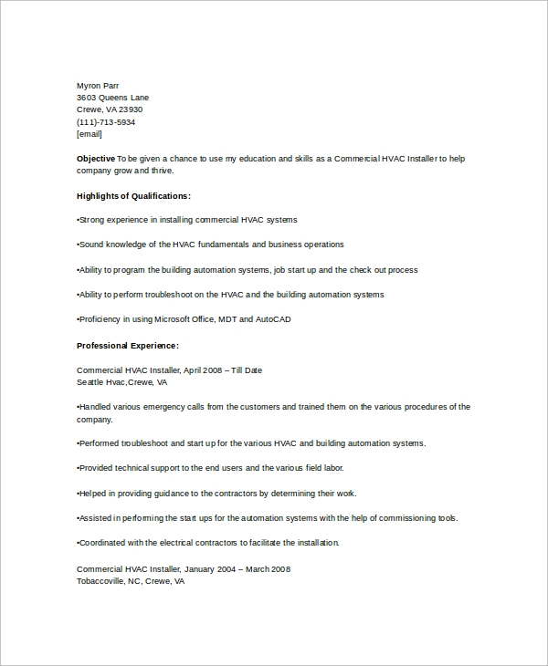 job resume sample format pdf professional samples download installer template