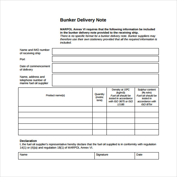 Goods Collection Note Template
