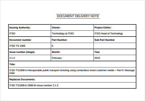 Captivating Document Delivery Note Template In Proof Of Delivery Form Template