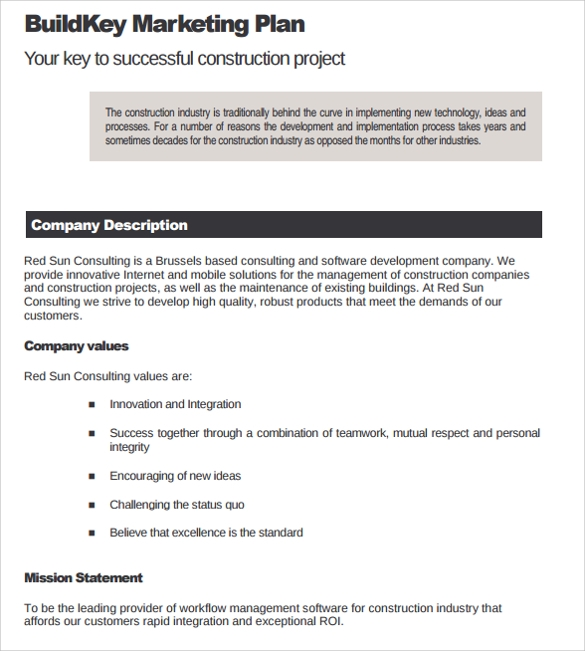 11 sample construction business plan templates to download sample marketing plan construction company flashek