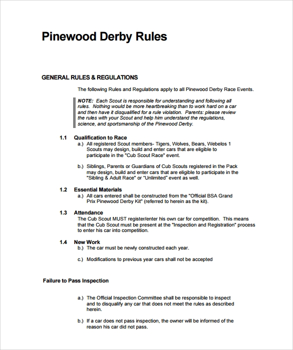 Pinewood Derby Rules ~ Pinewood derby templates download documents in pdf