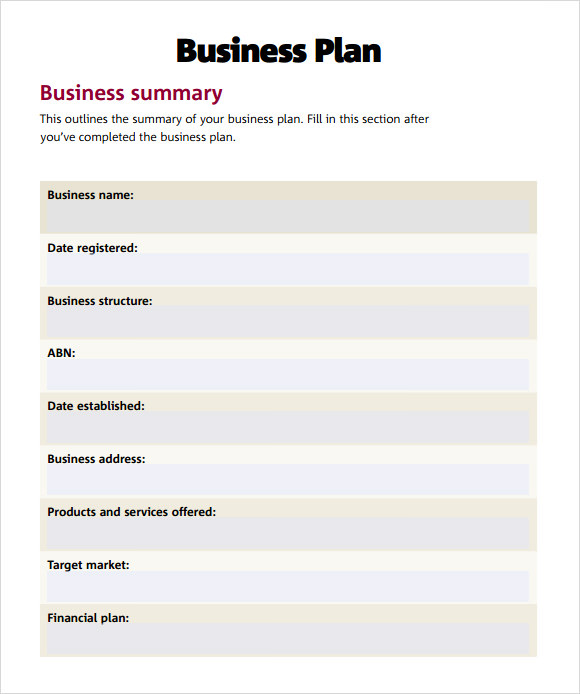 Fill-In-The-Blank Business Plan – PDF Version