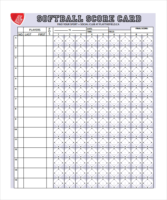 Baseball scoresheet for Softball scorecard template