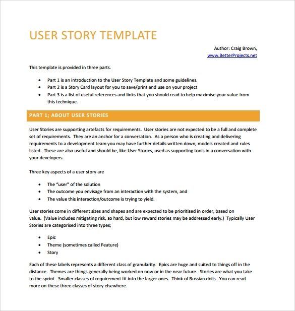 scrum user stories template - user story backlog template