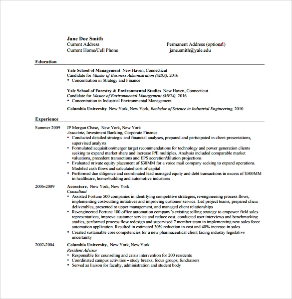 simple resume for mba1