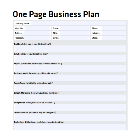 single page business plan