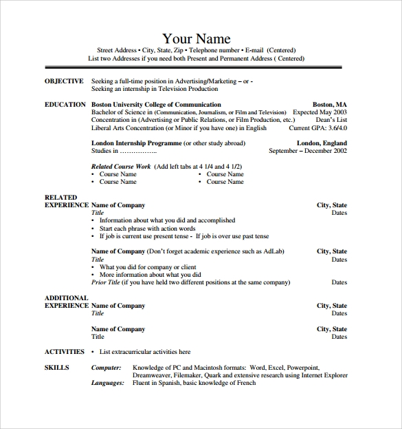 internship resume template - Advertising Internship Resume
