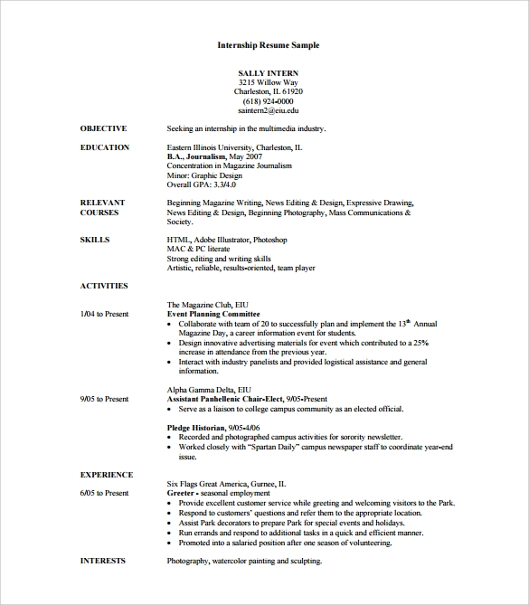Internship Sample Resume  College Internship Resume Template
