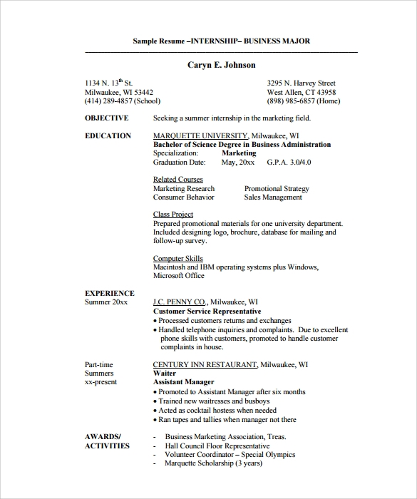 Business Internship Resume Template