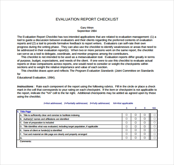 12  sample evaluation reports
