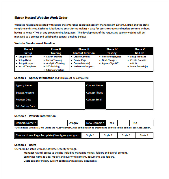 word order form templates