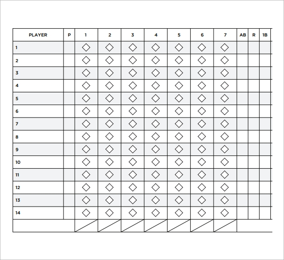 image regarding Printable Baseball Scoresheet called No cost 10+ Pattern Softball Rating Sheets within just Google Docs