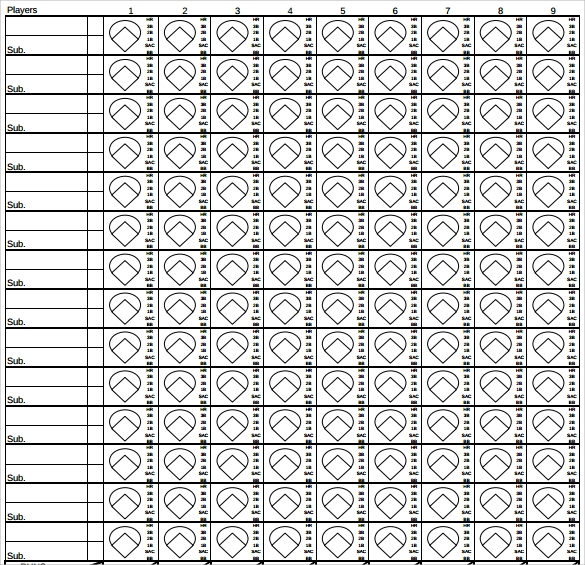 Baseball Scoresheet Baseball Score Sheet Template Printable