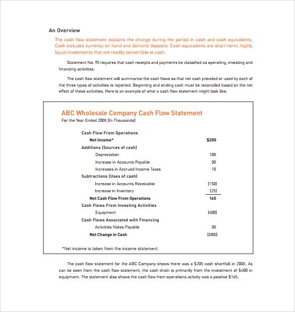 sample company cash flow statement