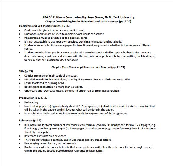 free 7  sample apa outline templates in pdf
