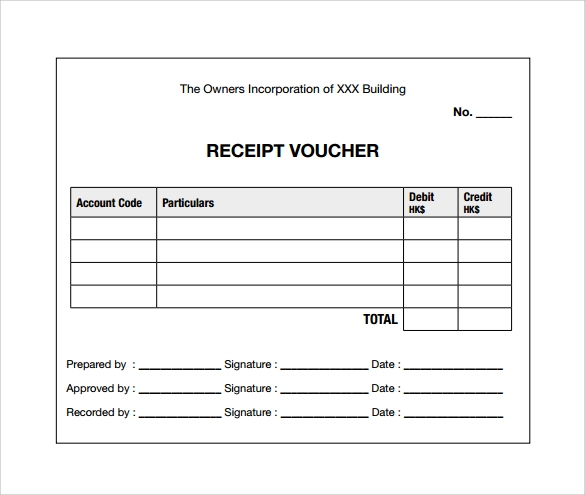 Sample Receipt Voucher Template   Download Free Documents In