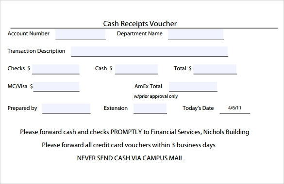 Sample Receipt Voucher Template 8 Download Free
