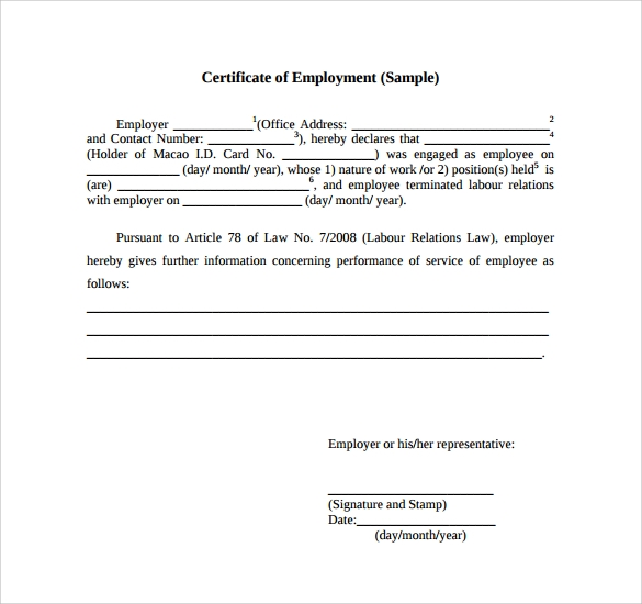 employment certificate template 9 download free