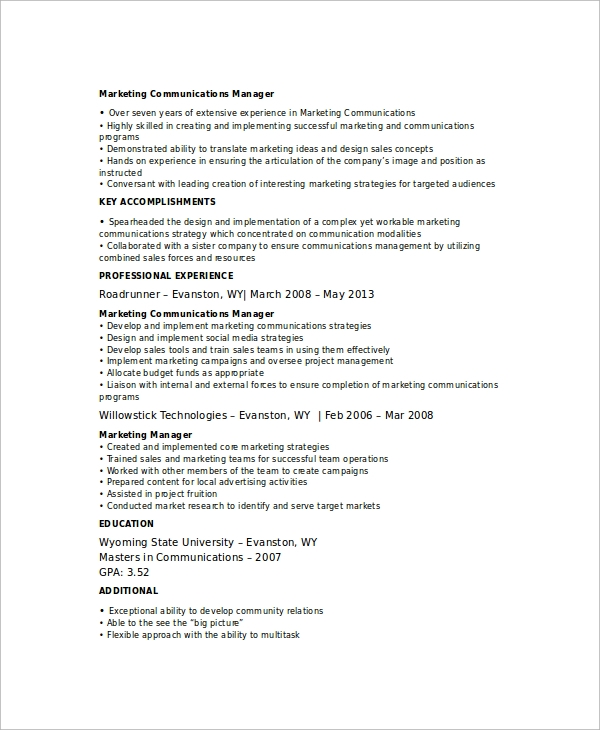 sample marketing resume template 6 free documents download in