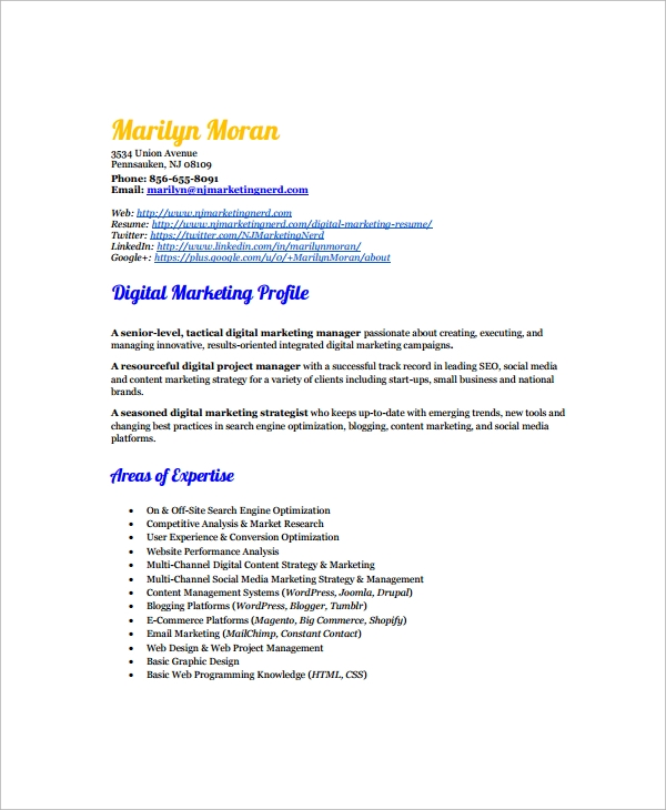 Sample Marketing Resume Template 6 Free Documents