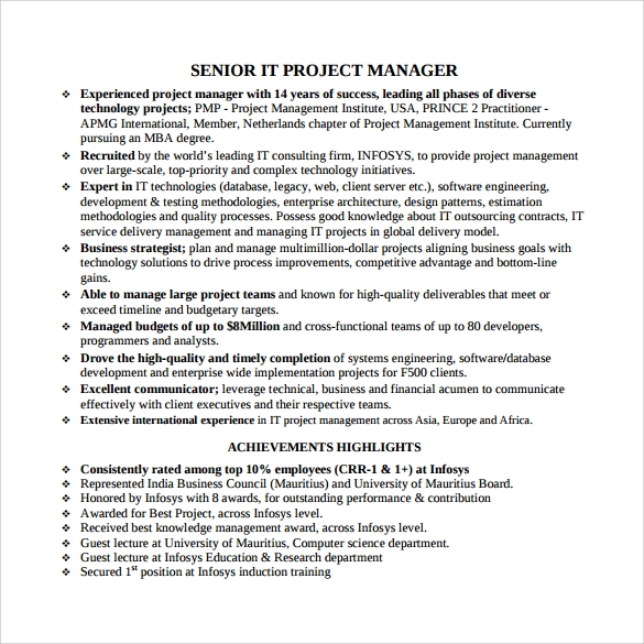 sample project management resumes