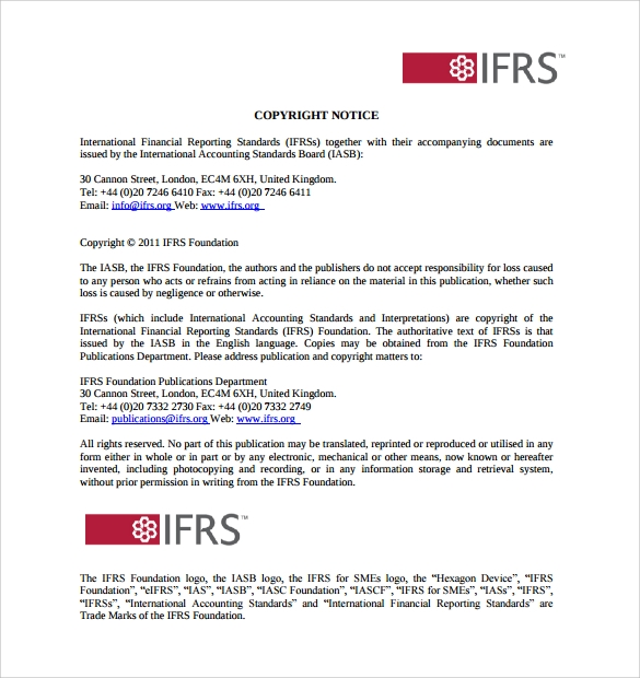 ifrs copyright notice