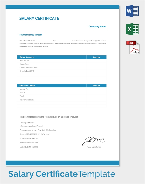 Word 2007 Salary Certificate