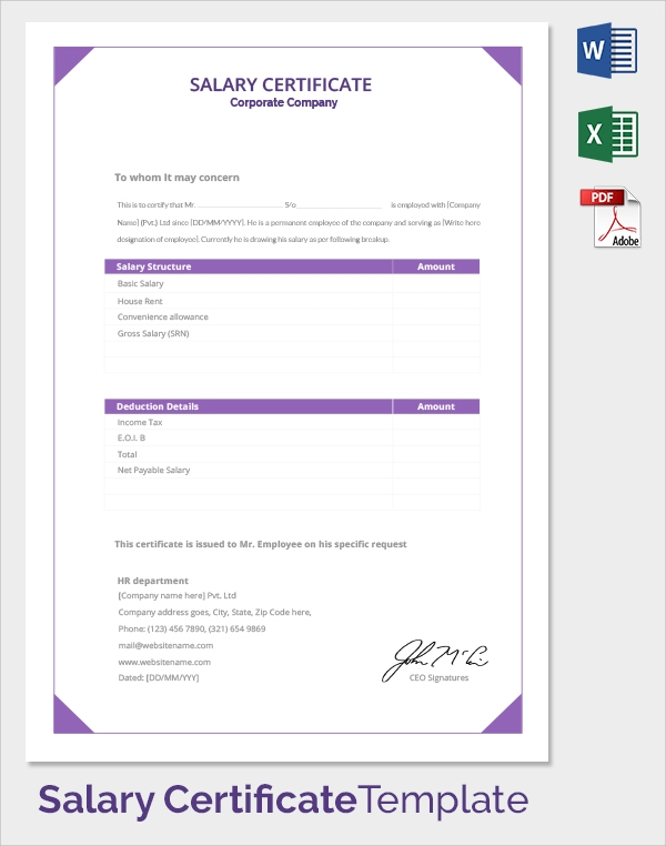 corporate company salary certificate template1