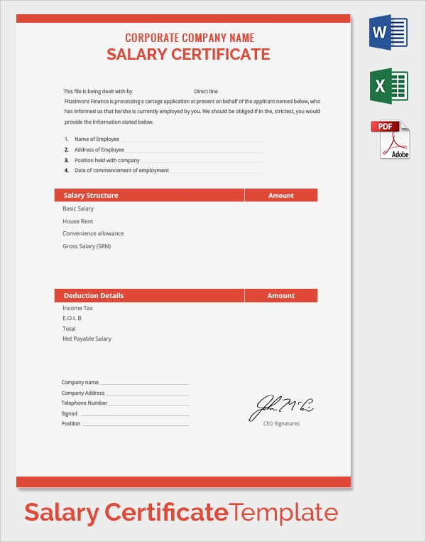 corporate company name salary certificate template