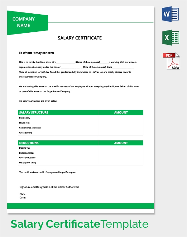 Doc Salary Certificate Format Download   Free Salary