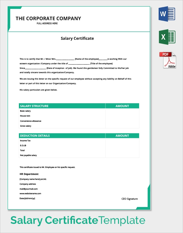Sample Salary Certificate Template 21 Documents in PDF Word – Salary Certificate Template