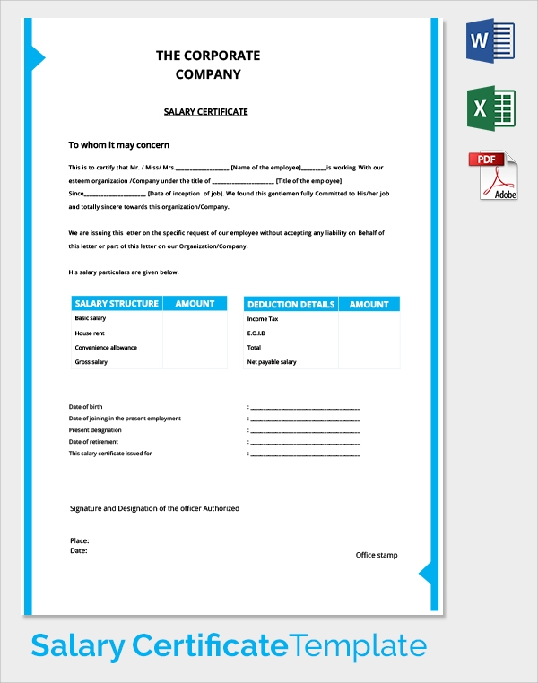21 sample salary certificate templates sample templates free corporate company salary certificate template altavistaventures Gallery