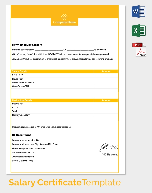 free employee annual salary certificate template