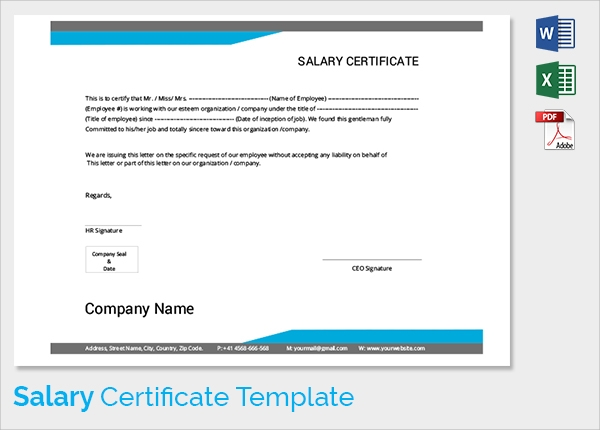 Sample salary certificate template 21 documents in pdf word simple salary certificate template altavistaventures Choice Image