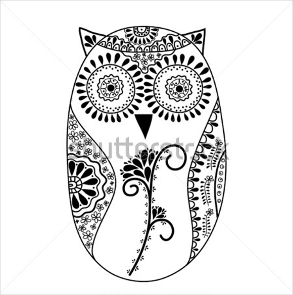 abstract floral owl template