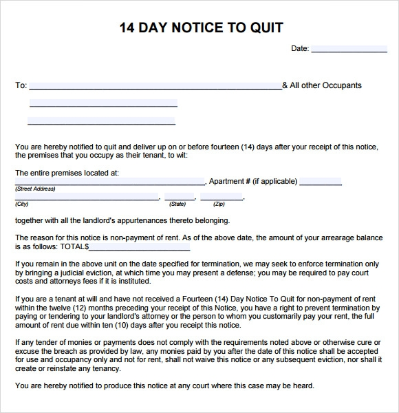 14 days notice to quit form