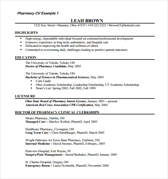 Pharmacy Doctor Resume Template