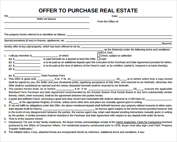 Sample Offer To Purchase Real Estate Form   Documents In Pdf