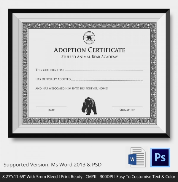 photo relating to Free Printable Adoption Certificate identify No cost 24+ Pattern Adoption Certificates in just Illustrator