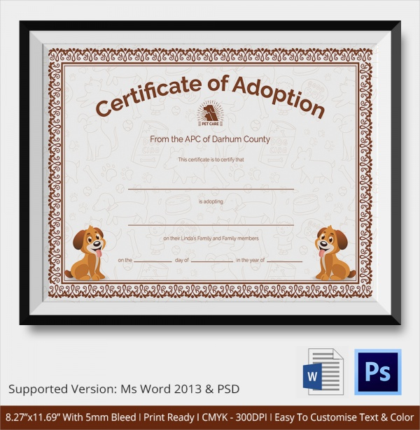 19 sample adoption certificates sample templates. Black Bedroom Furniture Sets. Home Design Ideas