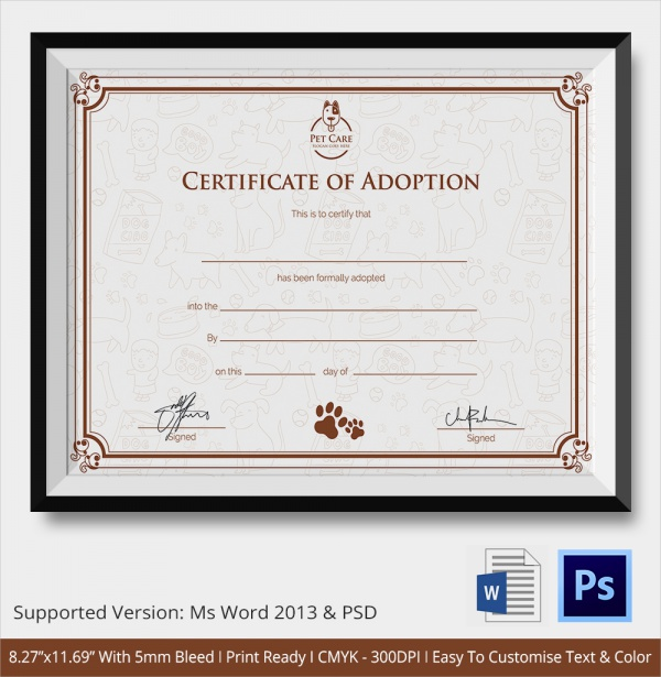 Sample Adoption Certificate Template 18 Documents In Pdf Psd