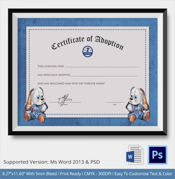 26+ Sample Adoption Certificates in Illustrator | InDesign ...