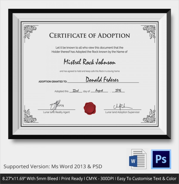 Persnickety image with printable adoption certificate